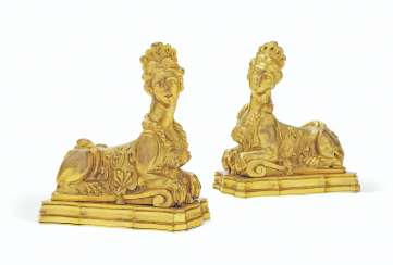 A PAIR OF FRENCH ORMOLU PRESSE-PAPIERS