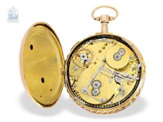 Pocket watch: big and heavy, red-gold pocket watch with Repetition and hourly release, especially rare music work, Henry Darlot, to 1820