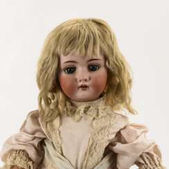 Blond porcelain head girl with red eyelashes