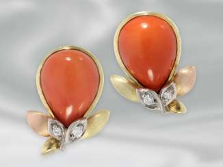 Earrings are extremely tasteful vintage earrings, studded with beautiful coral and brilliant-cut diamonds, 14K Gold