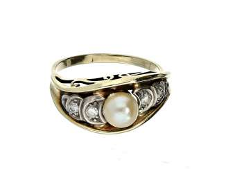 Ring: decorative beads/diamond-wrought gold ring, probably from the Art Deco period