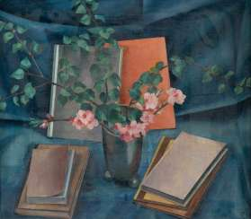 GEORGE town in Germany in 1938, Darmstadt, Germany life breitwieser in 1890, STILL WITH BOOKS AND FLOWERS