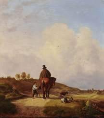 Horsemen in a hilly landscape, an encounter with a charity, please kindly shepherds