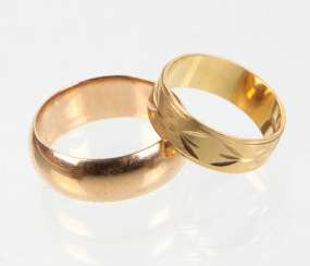 2 wedding rings - yellow gold 585 & 750
