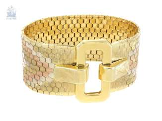 Bracelet: unusually wide, elaborately manufactured and very heavy vintage tricolor bracelet in the form of a belt, 18K gold