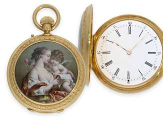 Pocket watch: fine Gold/enamel-Savonnette with paintings in the finest magnifying glass painting, top quality, Albinet & Coullon Paris, No. 2090, CA. 1870