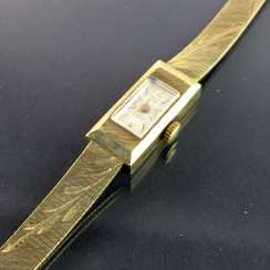 Ladies watch: yellow gold 585 / 14 K, hand-engraved, PANTO, 17 jewel, Incabloc shock / Shock-proof, 20. Century, very beautiful.