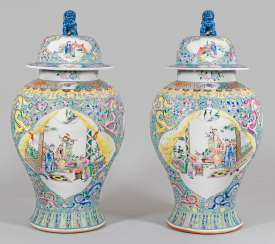 Pair of monumental Famille rose lid vases
