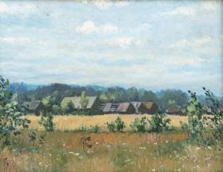 RUSSIAN landscape painter Active at the beginning of the 20th century. Century Wide landscape with farmhouses