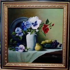 """Still life with flowers and fruits"""