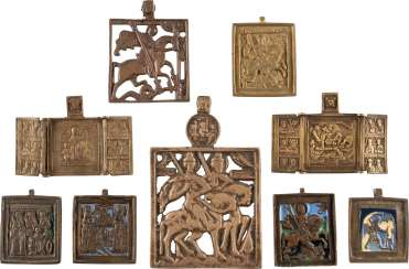 TWO SMALL TRIPTYCHA AND SEVEN BRONZE ICONS WITH SELECTED SAINTS