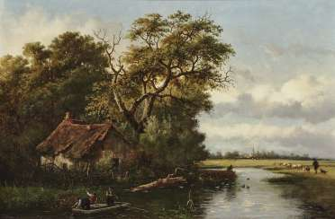 River landscape with farmer Kate, and figure staffage