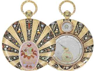 Pocket watch: interesting Gold/enamel-Lepine with jumping hour and small seconds, master watchmaker J. Louis Audemars Brassus & Geneve 1782-1833
