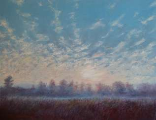 Original landscape painting oil on canvas, Sunrise