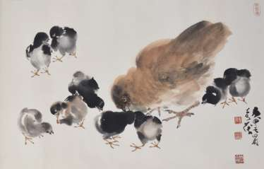 Hen With Nine Chicks, Paper,