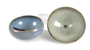 Two 'junyao'bowls with turquoise glaze and violet stain