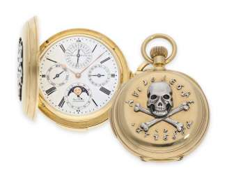 Pocket watch: a unique, historically interesting gold savonnette with 7 complications, a perpetual calendar and minute repeater, formerly in the possession of the Russian Mazurin dynasty, Pavel Buhre No. 2507, watchmaker to the court of the Tsar, dated 18