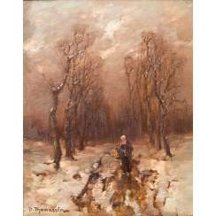 "THOMASSIN, DÉSIRÉ (also: Thomassin-Renardt, Vienna 1858-1933 Munich), ""Young woman on a snowy avenue"","