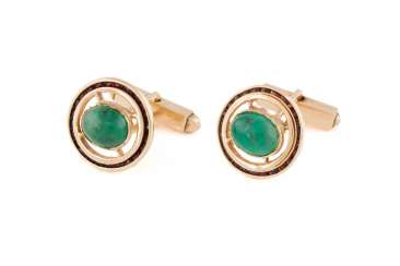 PAIR OF GEMSTONE CUFFLINKS 'LUCIEN PICCARD'