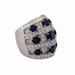Ring with 9 sapphires and 74 diamonds