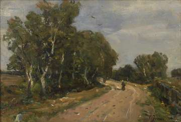 IRMER, Carl: landscape with birch trees and Staffage