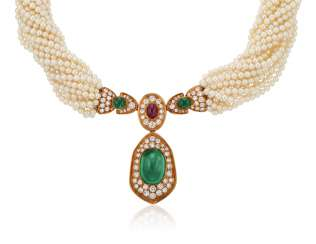 HARRY WINSTON EMERALD, DIAMOND, RUBY AND PEARL NECKLACE