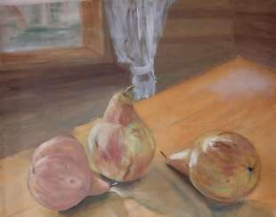 Still life. Pears on the table.