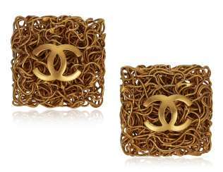 UNSIGNED CHANEL GILT METAL EARRINGS