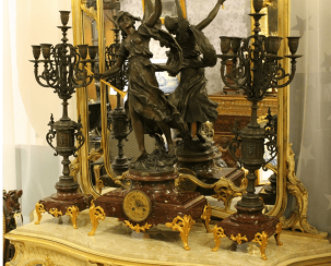mantel clock with candelabras