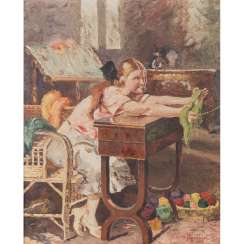 "FRANCESCHELLI, A. (Italian artist of the 19th / 20th century), ""Girl at the sewing table"","
