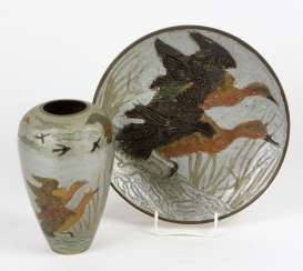 Vase & dish with hunting decor