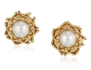 TIFFANY & CO. JEAN SCHLUMBERGER MABE PEARL AND GOLD EARRINGS
