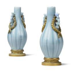 A PAIR OF ORMOLU-MOUNTED CHINESE CLAIR-DE-LUNE PORCELAIN BOTTLE VASES