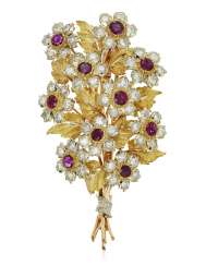 BUCCELLATI RUBIS ET DIAMANTS FLOWER BROOCH
