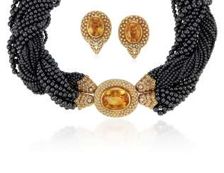 CITRINE, DIAMOND AND HEMATITE NECKLACE AND EARRINGS