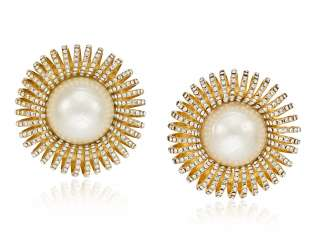 UNSIGNED CHANEL OVERSIZED FAUX PEARL AND RHINESTONE EARRINGS