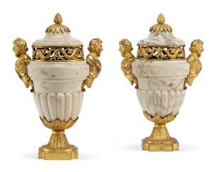 A PAIR OF NORTH EUROPEAN ORMOLU-MOUNTED MARBLE POTPOURRI JARS AND COVERS