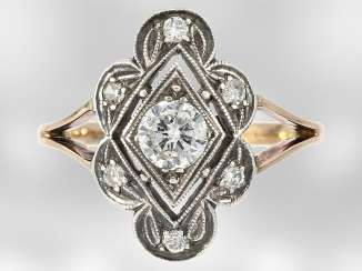 Ring: a decorative ring brilliant, approximately 0.6 ct, 14K rose gold & silver, antique