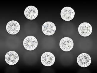 Brilliant: Lot of 10 high quality diamonds, total approx. 2.35 ct, from the inventory of the court jeweler Roesner