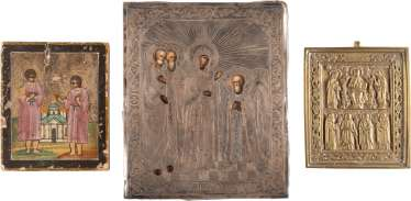 THREE SMALL ICONS: APPEARANCE OF THE MOTHER OF GOD BEFORE THE HOLY SERGEI OF RADONEZH, TWO SAINTS, AND A BRONZE ICON WITH THE DEESIS