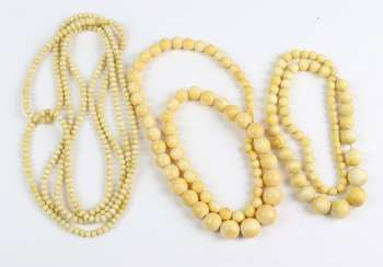 3 antique ivory chains