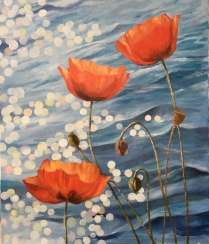 Poppies in water.