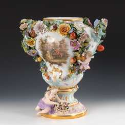 Ornamental vase with a Watteau painting, MEISSEN.