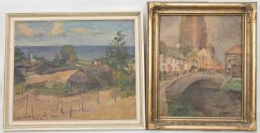REF. HEROLD/HÄN, VILLAGE /town view WITH WATER -, Oil/canvas acrylic/Board, 20. Century