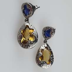 Pair of Citrine-Kyanite Earrings