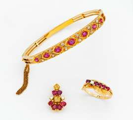 Mixed lot: ruby-diamond bangle, ring and pendant