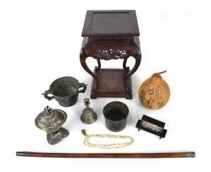 Mixed lot of arts and crafts, including incense burners, ghanta, holding a bell, Kapala, wood stand