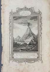 Engraving. Kamchatka .Awatcha volcano on the Kamchatka Peninsula