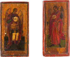 COUPLE OF SMALL ICONS-FRAGMENTS WITH THE ARCHANGELS MICHAEL AND GABRIEL