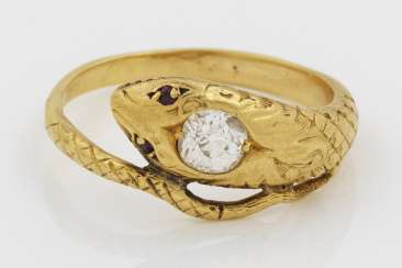 Biedermeier-snake ring with diamond rose